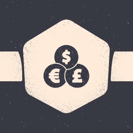 Grunge Currency exchange icon isolated on grey background. Cash transfer symbol. Banking currency sign. Monochrome vintage drawing. Vector