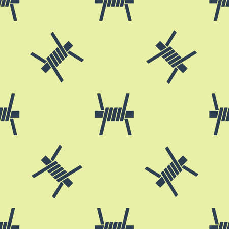 Blue Barbed wire icon isolated seamless pattern on yellow background. Vector