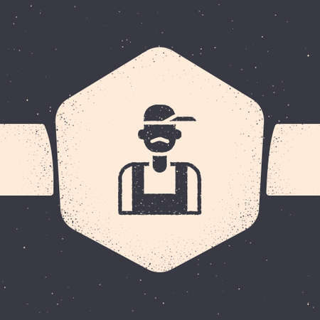 Grunge Plumber icon isolated on grey background. Monochrome vintage drawing. Vector 矢量图像