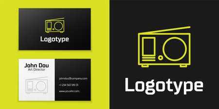 Logotype line Radio with antenna icon isolated on black background. Logo design template element. Vector Illustration Çizim