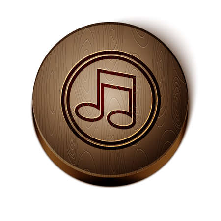 Brown line Music note, tone icon isolated on white background. Wooden circle button. Vector Illusztráció