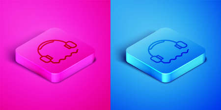 Isometric line Headphones icon isolated on pink and blue background. Support customer service, hotline, call center, faq, maintenance. Square button. Vector Illustration 矢量图像