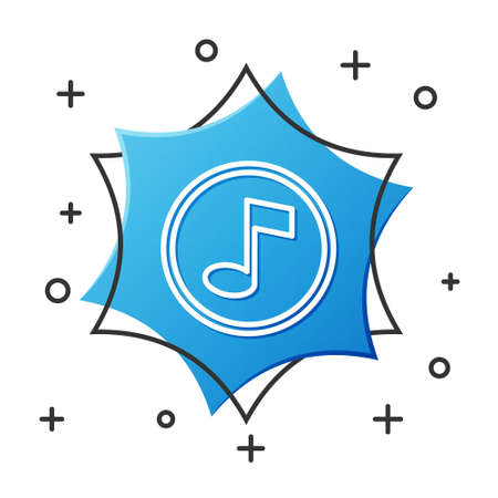 White line Music note, tone icon isolated on white background. Blue hexagon button. Vector