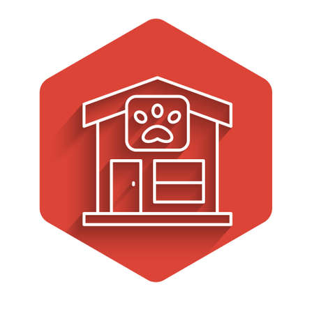 White line Pet grooming icon isolated with long shadow. Pet hair salon. Barber shop for dogs and cats. Red hexagon button. Vector
