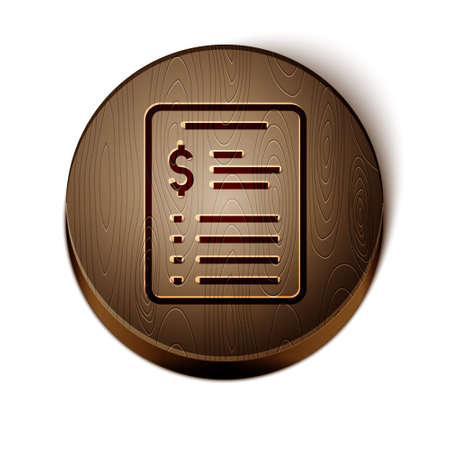 Brown line Grooming salon price list icon isolated on white background. Wooden circle button. Vector 矢量图像