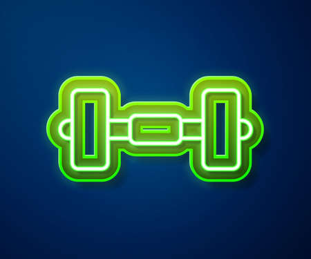 Glowing neon line Dumbbell icon isolated on blue background. Muscle lifting icon, fitness barbell, gym, sports equipment, exercise bumbbell. Vector