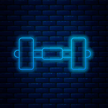 Glowing neon line Dumbbell icon isolated on brick wall background. Muscle lifting icon, fitness barbell, gym, sports equipment, exercise bumbbell. Vector Illusztráció