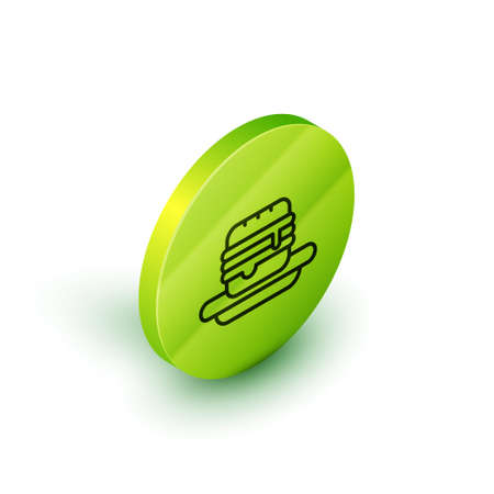 Isometric line Junk food icon isolated on white background. Prohibited hot dog. No Fast food sign. Green circle button. Vector