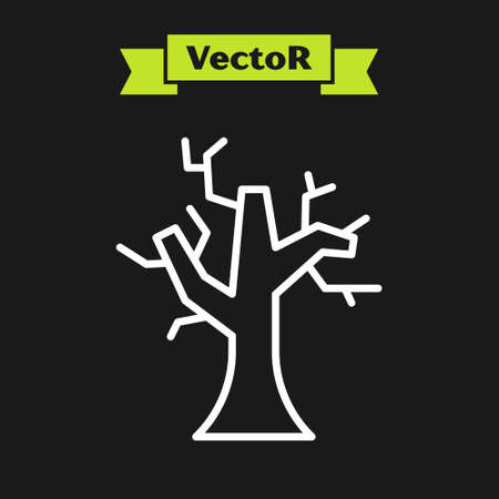 White line Withered tree icon isolated on black background. Bare tree. Dead tree silhouette. Vector