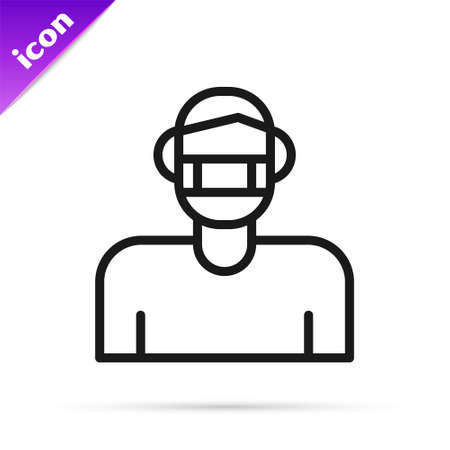 Black line Man face in a medical protective mask icon isolated on white background. Quarantine. Vector