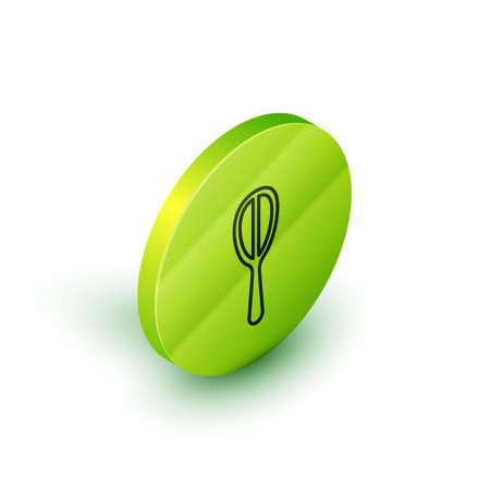 Isometric line Kitchen whisk icon isolated on white background. Cooking utensil, egg beater. Cutlery sign. Food mix symbol. Green circle button. Vector