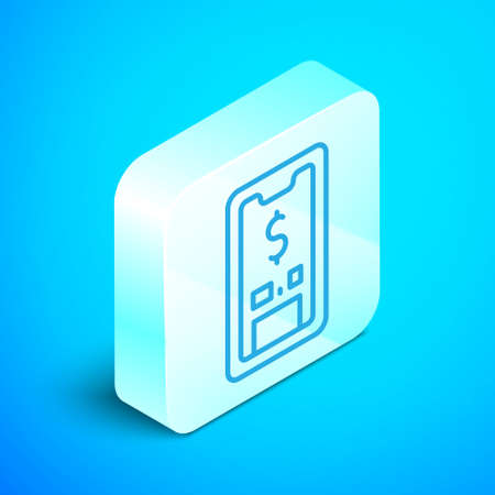 Isometric line Smartphone with dollar symbol icon isolated on blue background. Online shopping concept. Financial mobile phone icon. Online payment. Silver square button. Vector Çizim
