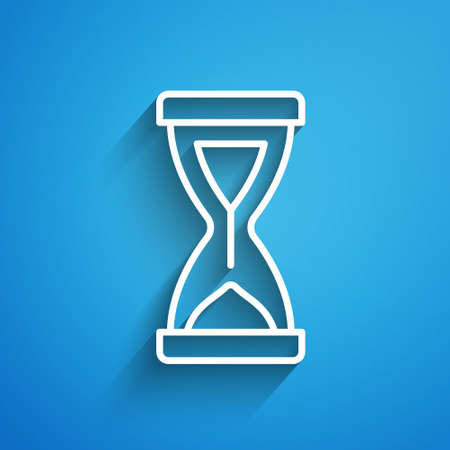 White line Old hourglass with flowing sand icon isolated on blue background. Sand clock sign. Business and time management concept. Long shadow. Vector