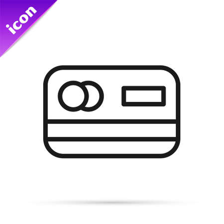 Black line Credit card icon isolated on white background. Online payment. Cash withdrawal. Financial operations. Shopping sign. Vector Çizim