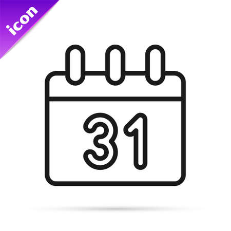 Black line Calendar icon isolated on white background. Event reminder symbol. Merry Christmas and Happy New Year. Vector Stock Illustratie