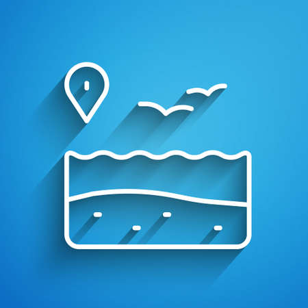 White line Location with beach icon isolated on blue background. Tropical beach landscape. Good sunny day. Long shadow. Vector Stock Illustratie