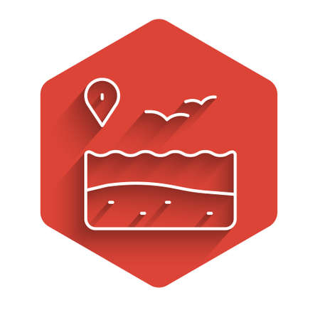 White line Location with beach icon isolated with long shadow. Tropical beach landscape. Good sunny day. Red hexagon button. Vector
