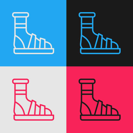 Pop art line Slippers with socks icon isolated on color background. Beach slippers sign. Flip flops. Vector
