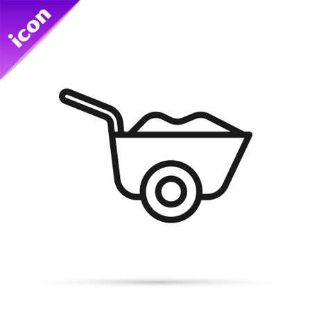 Black line Wheelbarrow icon isolated on white background. Tool equipment. Agriculture cart wheel farm. Vector