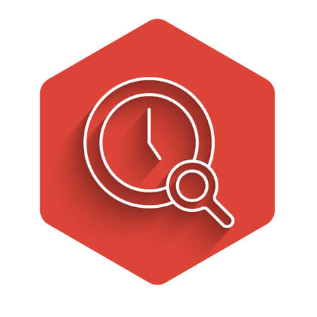 White line Magnifying glass with clock icon isolated with long shadow. Clock search. Red hexagon button. Vector