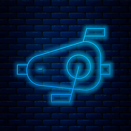 Glowing neon line Bicycle pedals icon isolated on brick wall background. Vector Stock Illustratie