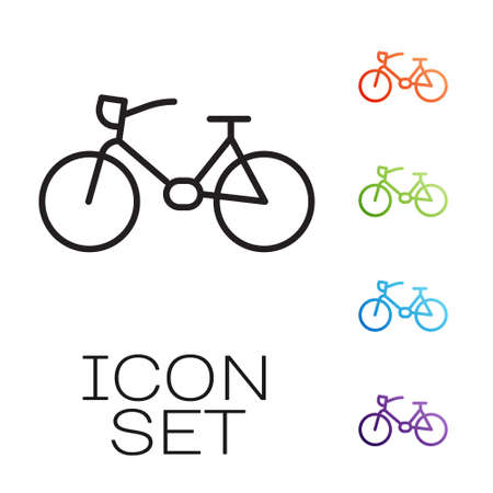 Black line Bicycle icon isolated on white background. Bike race. Extreme sport. Sport equipment. Set icons colorful. Vector