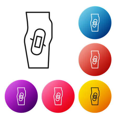 Black line Plaster on leg icon isolated on white background. Set icons colorful circle buttons. Vector
