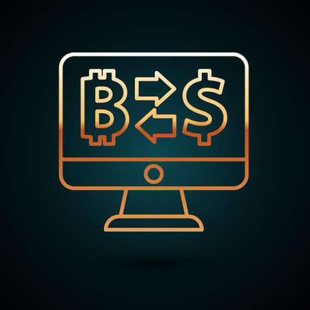 Gold line Cryptocurrency exchange icon isolated on dark blue background. Bitcoin to dollar exchange icon. Cryptocurrency technology, mobile banking. Vector Çizim