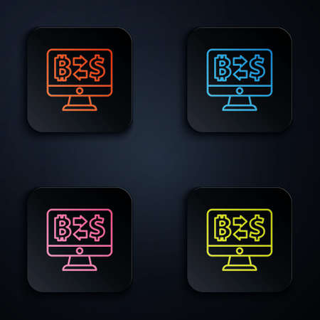 Color neon line Cryptocurrency exchange icon isolated on black background. Bitcoin to dollar exchange icon. Cryptocurrency technology, mobile banking. Set icons in square buttons. Vector