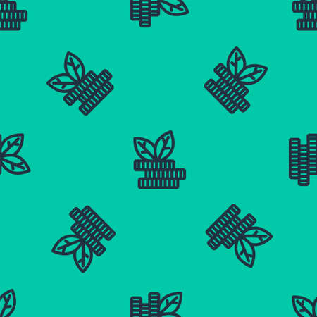 Blue line Dollar plant icon isolated seamless pattern on green background. Business investment growth concept. Money savings and investment. Vector