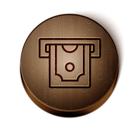 Brown line ATM - Automated teller machine and money icon isolated on white background. Wooden circle button. Vector