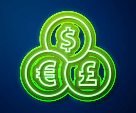 Glowing neon line Currency exchange icon isolated on blue background. Cash transfer symbol. Banking currency sign. Vector