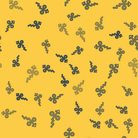 Blue line Percent up arrow icon isolated seamless pattern on yellow background. Increasing percentage sign. Vector Çizim