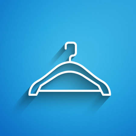 White line Hanger wardrobe icon isolated on blue background. Cloakroom icon. Clothes service symbol. Laundry hanger sign. Long shadow. Vector