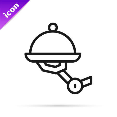 Black line Waiter robot with covered plate icon isolated on white background. Artificial intelligence, machine learning, cloud computing. Vector 矢量图像