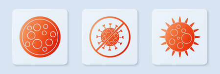 Set Stop virus, Virus and Virus. White square button. Vector