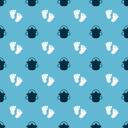Set Baby bottle and Baby footprints on seamless pattern. Vector