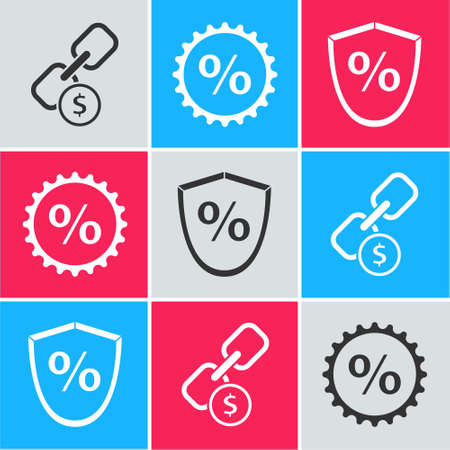 Set Chain link and coin, Discount percent tag and Loan percent icon. Vector