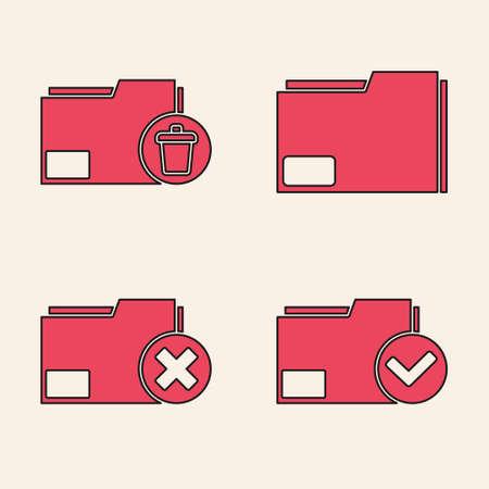 Set Document folder and check mark, Delete folder, Document folder and Delete folder icon. Vector Ilustração