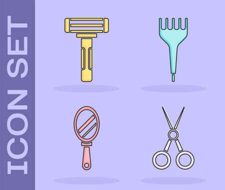 Set Scissors hairdresser, Shaving razor, Hand mirror and Hairbrush icon. Vector