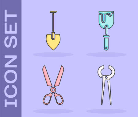 Set Pincers and pliers, Shovel, Scissors and Putty knife icon. Vector 矢量图像