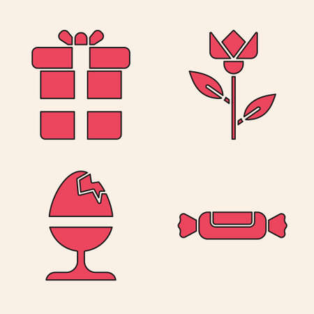 Set Candy, Gift box, Flower tulip and Chicken egg on a stand icon. Vector