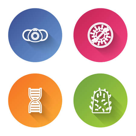 Set line Medical protective mask, Stop virus, DNA symbol and Rabies. Color circle button. Vector