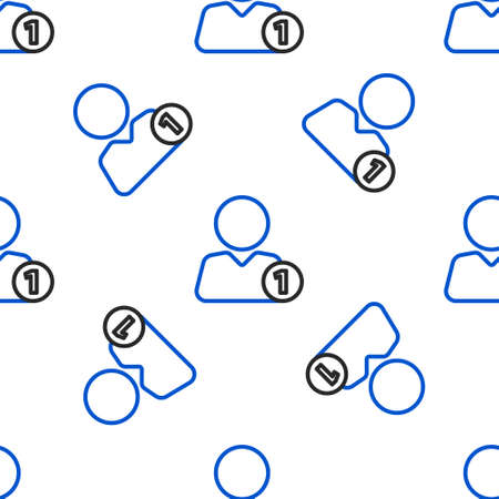 Line Add to friend icon isolated seamless pattern on white background. Colorful outline concept. Vector 矢量图像