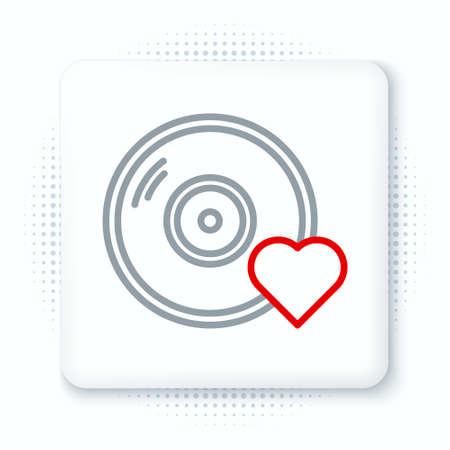 Line Romantic music icon isolated on white background. Valentines day. Colorful outline concept. Vector Illusztráció