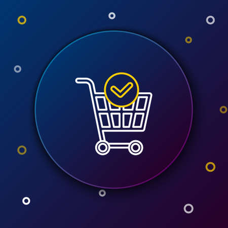 Line Shopping cart with check mark icon isolated on blue background. Supermarket basket with approved, confirm, done, tick, completed. Colorful outline concept. Vector