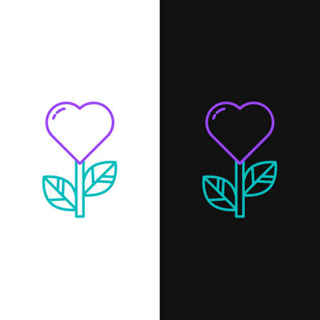 Line Heart shape in a flower icon isolated on white and black background. Colorful outline concept. Vector