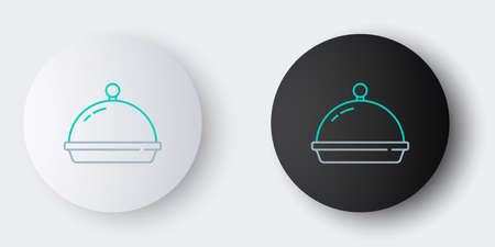 Line Covered with a tray of food icon isolated on grey background. Tray and lid. Restaurant cloche with lid. Kitchenware symbol. Colorful outline concept. Vector