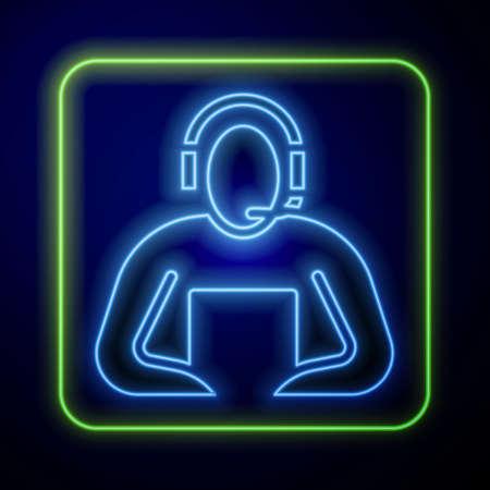 Glowing neon Student icon isolated on blue background. Vector Illustration Stock Illustratie