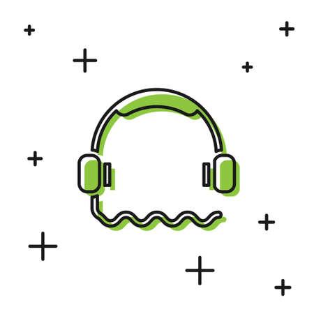 Black Headphones icon isolated on white background. Support customer service, hotline, call center, faq, maintenance. Vector Illustration